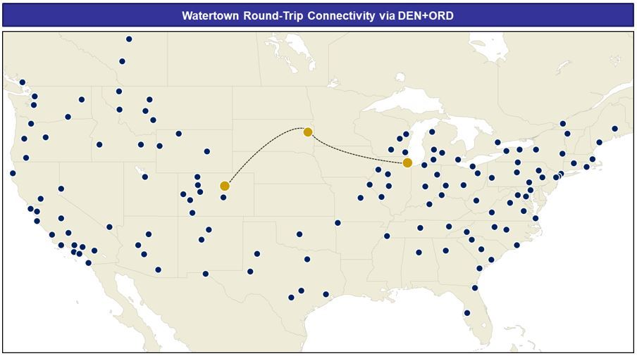 Image showing connecting flights from Chicago O'Hare and Denver International